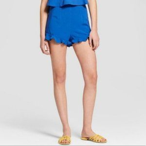 Ruffle Hem Shorts - Le Kate Blue XL, New With tags